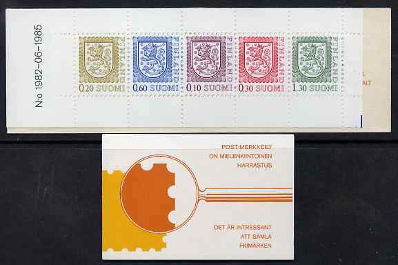 Booklet - Finland 1985 Lion (National Arms) 5m booklet (yellow & orange cover) complete and fine, SG SB19