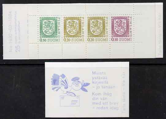 Booklet - Finland 1983 Lion (National Arms) 1m booklet (violet-blue & white cover) complete and fine, SG SB17a