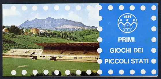 Booklet - San Marino 1985 Small States Games 4000L booklet complete and fine, SG SB1