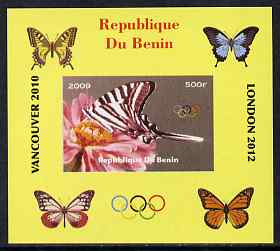 Benin 2009 Butterflies & Olympics #01 individual imperf deluxe sheet unmounted mint. Note this item is privately produced and is offered purely on its thematic appeal