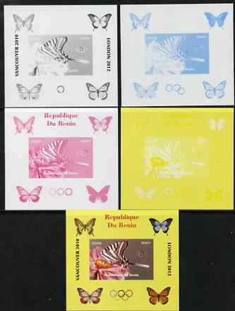 Benin 2009 Butterflies & Olympics #01 individual deluxe sheet the set of 5 imperf progressive proofs comprising the 4 individual colours plus all 4-colour composite, unmo...