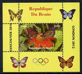 Benin 2009 Butterflies & Olympics #02 individual perf deluxe sheet unmounted mint. Note this item is privately produced and is offered purely on its thematic appeal