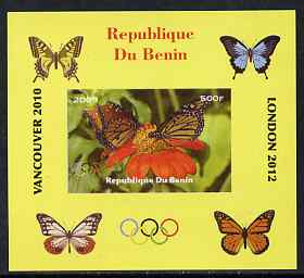 Benin 2009 Butterflies & Olympics #02 individual imperf deluxe sheet unmounted mint. Note this item is privately produced and is offered purely on its thematic appeal