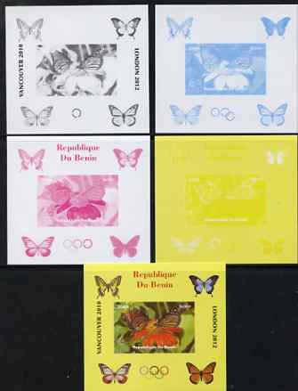 Benin 2009 Butterflies & Olympics #02 individual deluxe sheet the set of 5 imperf progressive proofs comprising the 4 individual colours plus all 4-colour composite, unmo...