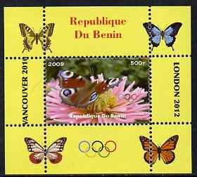 Benin 2009 Butterflies & Olympics #03 individual perf deluxe sheet unmounted mint. Note this item is privately produced and is offered purely on its thematic appeal