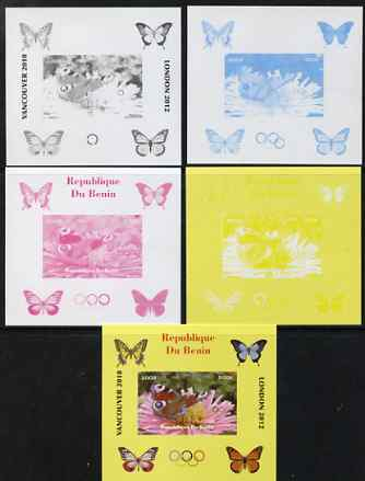 Benin 2009 Butterflies & Olympics #03 individual deluxe sheet the set of 5 imperf progressive proofs comprising the 4 individual colours plus all 4-colour composite, unmo...