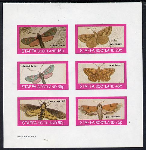 Staffa 1982 Butterflies & Moths (6-Spotted Burnet, Skippers, Haek Moth etc) imperf set of 6 values (15p to 75p) unmounted mint