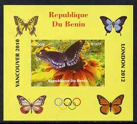 Benin 2009 Butterflies & Olympics #04 individual imperf deluxe sheet unmounted mint. Note this item is privately produced and is offered purely on its thematic appeal