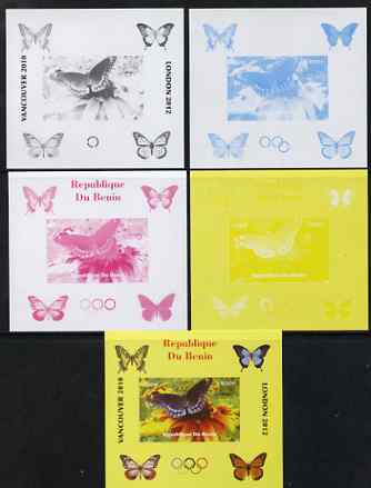 Benin 2009 Butterflies & Olympics #04 individual deluxe sheet the set of 5 imperf progressive proofs comprising the 4 individual colours plus all 4-colour composite, unmounted mint