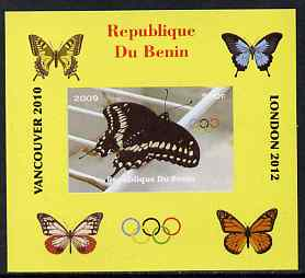 Benin 2009 Butterflies & Olympics #05 individual imperf deluxe sheet unmounted mint. Note this item is privately produced and is offered purely on its thematic appeal
