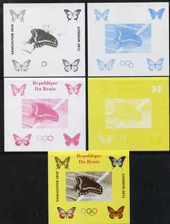 Benin 2009 Butterflies & Olympics #05 individual deluxe sheet the set of 5 imperf progressive proofs comprising the 4 individual colours plus all 4-colour composite, unmounted mint