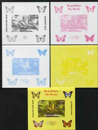 Benin 2009 Butterflies & Olympics #06 individual deluxe sheet the set of 5 imperf progressive proofs comprising the 4 individual colours plus all 4-colour composite, unmounted mint