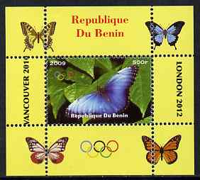 Benin 2009 Butterflies & Olympics #07 individual perf deluxe sheet unmounted mint. Note this item is privately produced and is offered purely on its thematic appeal