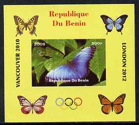 Benin 2009 Butterflies & Olympics #07 individual imperf deluxe sheet unmounted mint. Note this item is privately produced and is offered purely on its thematic appeal