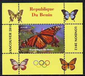 Benin 2009 Butterflies & Olympics #08 individual perf deluxe sheet unmounted mint. Note this item is privately produced and is offered purely on its thematic appeal