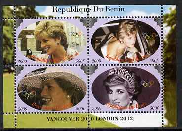 Benin 2009 Princess Diana & Olympics #01 perf sheetlet containing 4 values, unmounted mint. Note this item is privately produced and is offered purely on its thematic appeal