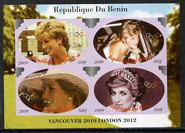Benin 2009 Princess Diana & Olympics #01 imperf sheetlet containing 4 values, unmounted mint. Note this item is privately produced and is offered purely on its thematic appeal