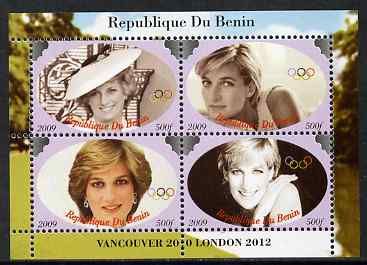 Benin 2009 Princess Diana & Olympics #02 perf sheetlet containing 4 values, unmounted mint. Note this item is privately produced and is offered purely on its thematic appeal