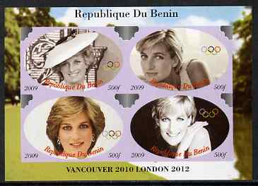 Benin 2009 Princess Diana & Olympics #02 imperf sheetlet containing 4 values, unmounted mint. Note this item is privately produced and is offered purely on its thematic appeal, stamps on olympics, stamps on diana, stamps on royalty