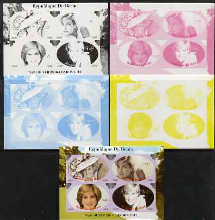 Benin 2009 Princess Diana & Olympics #02 sheetlet containing 4 values, the set of 5 imperf progressive proofs comprising the 4 individual colours plus all 4-colour composite, unmounted mint