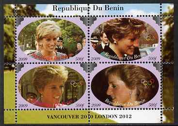 Benin 2009 Princess Diana & Olympics #03 perf sheetlet containing 4 values, unmounted mint. Note this item is privately produced and is offered purely on its thematic appeal, stamps on olympics, stamps on diana, stamps on royalty