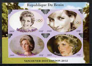 Benin 2009 Princess Diana & Olympics #04 imperf sheetlet containing 4 values, unmounted mint. Note this item is privately produced and is offered purely on its thematic appeal