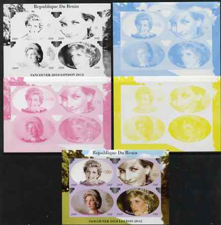 Benin 2009 Princess Diana & Olympics #04 sheetlet containing 4 values, the set of 5 imperf progressive proofs comprising the 4 individual colours plus all 4-colour composite, unmounted mint
