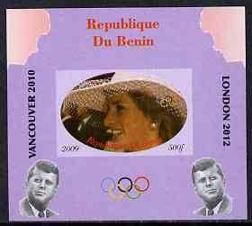 Benin 2009 Princess Diana, Kennedy & Olympics #01 individual imperf deluxe sheet, unmounted mint. Note this item is privately produced and is offered purely on its thematic appeal