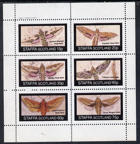 Staffa 1982 Moths (Hawk Moths) perf set of 6 values (15p to 75p) unmounted mint