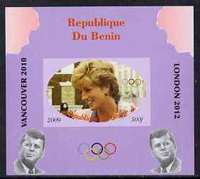 Benin 2009 Princess Diana, Kennedy & Olympics #02 individual imperf deluxe sheet, unmounted mint. Note this item is privately produced and is offered purely on its thematic appeal