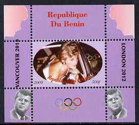 Benin 2009 Princess Diana, Kennedy & Olympics #03 individual perf deluxe sheet, unmounted mint. Note this item is privately produced and is offered purely on its thematic appeal