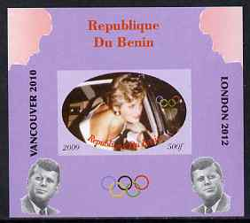 Benin 2009 Princess Diana, Kennedy & Olympics #03 individual imperf deluxe sheet, unmounted mint. Note this item is privately produced and is offered purely on its thematic appeal