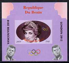 Benin 2009 Princess Diana, Kennedy & Olympics #04 individual imperf deluxe sheet, unmounted mint. Note this item is privately produced and is offered purely on its thematic appeal
