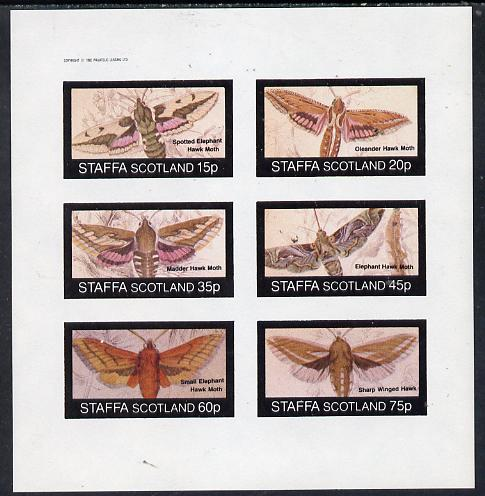 Staffa 1982 Moths (Hawk Moths) imperf set of 6 values (15p to 75p) unmounted mint