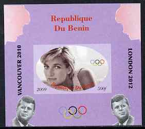 Benin 2009 Princess Diana, Kennedy & Olympics #05 individual imperf deluxe sheet, unmounted mint. Note this item is privately produced and is offered purely on its thematic appeal, stamps on olympics, stamps on diana, stamps on royalty, stamps on personalities, stamps on kennedy, stamps on usa presidents, stamps on americana