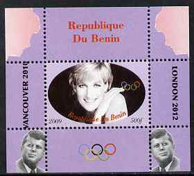 Benin 2009 Princess Diana, Kennedy & Olympics #06 individual perf deluxe sheet, unmounted mint. Note this item is privately produced and is offered purely on its thematic appeal
