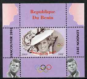 Benin 2009 Princess Diana, Kennedy & Olympics #07 individual perf deluxe sheet, unmounted mint. Note this item is privately produced and is offered purely on its thematic appeal