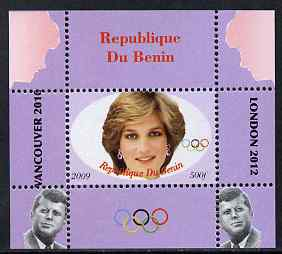 Benin 2009 Princess Diana, Kennedy & Olympics #08 individual perf deluxe sheet, unmounted mint. Note this item is privately produced and is offered purely on its thematic appeal