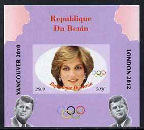 Benin 2009 Princess Diana, Kennedy & Olympics #08 individual imperf deluxe sheet, unmounted mint. Note this item is privately produced and is offered purely on its thematic appeal