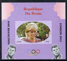 Benin 2009 Princess Diana, Kennedy & Olympics #09 individual imperf deluxe sheet, unmounted mint. Note this item is privately produced and is offered purely on its thematic appeal