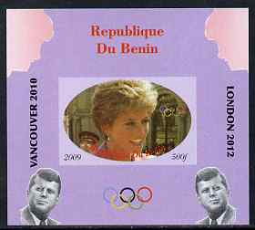 Benin 2009 Princess Diana, Kennedy & Olympics #10 individual imperf deluxe sheet, unmounted mint. Note this item is privately produced and is offered purely on its thematic appeal