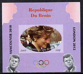 Benin 2009 Princess Diana, Kennedy & Olympics #11 individual imperf deluxe sheet, unmounted mint. Note this item is privately produced and is offered purely on its thematic appeal