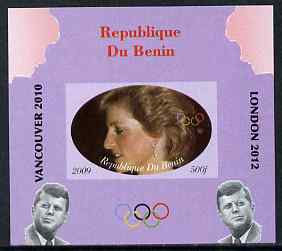 Benin 2009 Princess Diana, Kennedy & Olympics #12 individual imperf deluxe sheet, unmounted mint. Note this item is privately produced and is offered purely on its thematic appeal