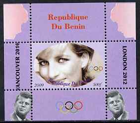 Benin 2009 Princess Diana, Kennedy & Olympics #13 individual perf deluxe sheet, unmounted mint. Note this item is privately produced and is offered purely on its thematic appeal