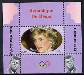 Benin 2009 Princess Diana, Kennedy & Olympics #14 individual perf deluxe sheet, unmounted mint. Note this item is privately produced and is offered purely on its thematic appeal
