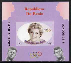 Benin 2009 Princess Diana, Kennedy & Olympics #15 individual imperf deluxe sheet, unmounted mint. Note this item is privately produced and is offered purely on its thematic appeal