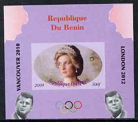 Benin 2009 Princess Diana, Kennedy & Olympics #16 individual imperf deluxe sheet, unmounted mint. Note this item is privately produced and is offered purely on its thematic appeal