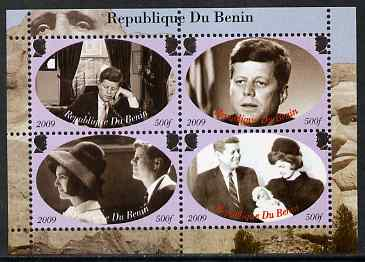 Benin 2009 John F Kennedy perf sheetlet containing 4 values, unmounted mint. Note this item is privately produced and is offered purely on its thematic appeal