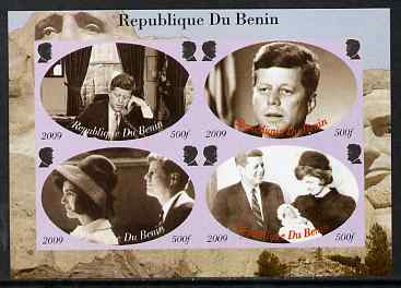 Benin 2009 John F Kennedy imperf sheetlet containing 4 values, unmounted mint. Note this item is privately produced and is offered purely on its thematic appeal