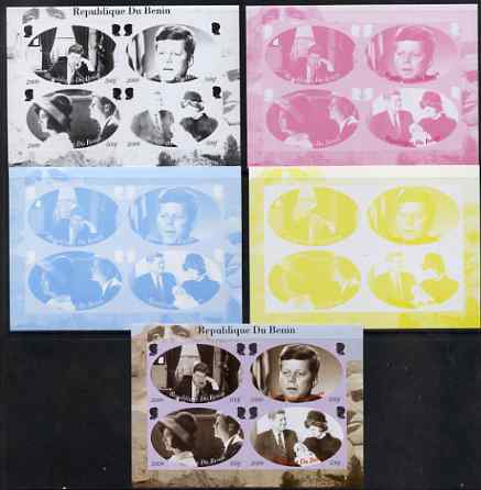 Benin 2009 John F Kennedy sheetlet containing 4 values, the set of 5 imperf progressive proofs comprising the 4 individual colours plus all 4-colour composite, unmounted ...